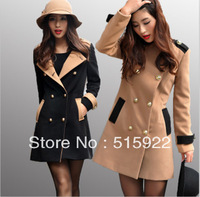 Lady  autumn and winter elegant slim waist double 6147 black,camel wool coat trench outerwear gift free shipping