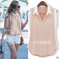 2013 new women's fashion Sleeveless Color Block Decoration Chiffon Shirts Solid Color Blouse women Slim All-match Shirt S-XL7543