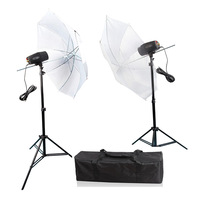360w Cheap Studio Flash Lighting Kits with Strobe & Reflective Umbrella & Stand PSK180F3