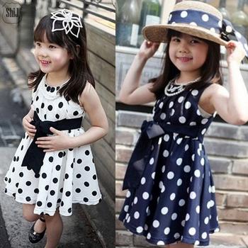 2015 горячая распродажа девушка платье в горошек хлопок дети платье 3 ~ 10 т shijcc01