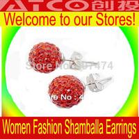 150pcs/lot Disco Ball Stud Earrings shamballa jewelry bead pave ball jewelry Paris Shamballa Earring CZ Ball Bead free shipping