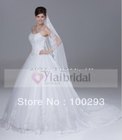 RSW249 Strapless Beaded Full Tulle Skirt Cathedral Royal Train Wedding Dresses