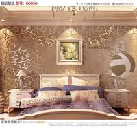 High-grade Rose Flower Pattern Flocking Wallpaper Roll Coffee Color 6 colors choose