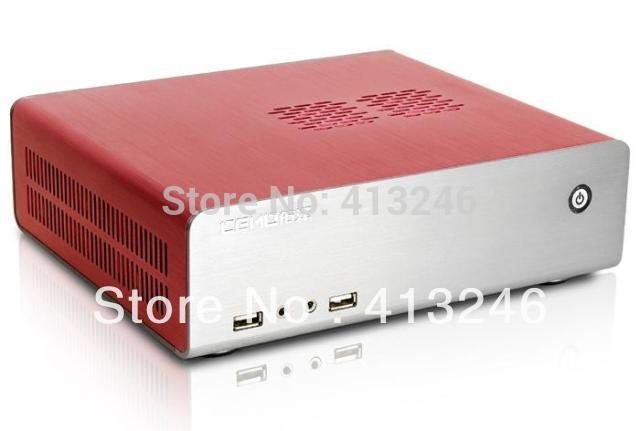 HTPC  mini itx aluminum pc computer I3 I5 D525 D2550 D2800 E350 1080P small host box diy horizontal htpc band power supply set(China (Mainland))