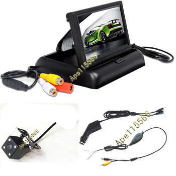 "Free shipping car wireless video parking camera system with 4.3"" monitor good for night vision"