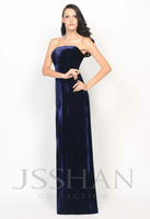 Unique Strapless Velvet Slim-Line Long Gorgeous Luxury Elegant Unique Brilliant Formal Prom Evening Dress Party Dress