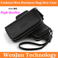 Brand NEW South Korea lovely half zipper lady's business key bag, fashion bag man leather car keys free shipping