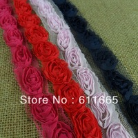 Free shipping Wholsale Fashion Chiffon Rose Wedding Lace trim,shabby rose flower trimming,1.5cm,50yards/lot