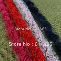 Free shipping Wholsale Fashion Chiffon Rose Wedding Lace trim,shabby rose flower trimming,1.5cm,50yards/lot