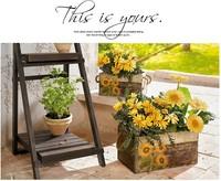Free Shipping European Style vintage garden flower pot SET with sunflower pattern, wooden,1 set includes 2 flowerpots