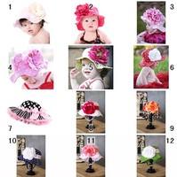New 18 designs summer hats Doomagic girls big flower UV sun hats Bucket Hats super hot sale leopard pink dots