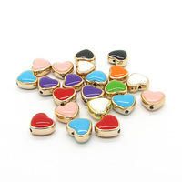 12mm 50pcs Fashion Heart Shape Drop Oil Acrylic Jewelry Beads UV Gold Plated Beads fit Necklace&Pendant Free Shipping HB200