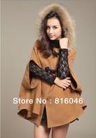Free shipping!winter and autumn Cloak Outerwear,Women woollen coat overcoat fur collar cloak woolen outerwear cape jacket