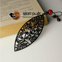Free shipping Bookmark unique classical vintage metal handmade leaves chinese style gift tassel ancietn china