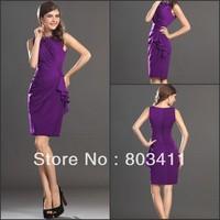 FreeShipping New Elegant Cheap Sleeveless Knee Length Purple Chiffon Cocktail Dress