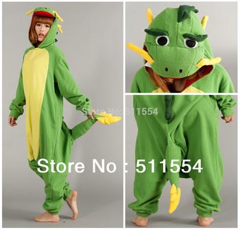 Chinese dragon fleece animal sleepwear long sleeve women/men pajama sets conjoined animal pajamas costume Free Shipping