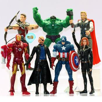 set 7pcs Avengers comic book hero marvel light toys Spider-Man Hulk PVC 14cm