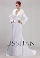 11W001 Winter Long Sleeves Mermaid Matte Satin Train Robe Gown Luxury Unique Bridal Wedding Dress wedding dresses free shipping