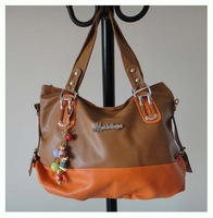 designer name handbag, PU + ornament, Size:41 x 26cm,5 different colors,shoulder straps,(orange)two function,Free shipping