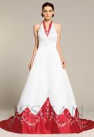 12W007 Halter V-Neck Beaded Embroidery Satin Train Elegant Gorgeous Luxury Unique Brilliant Long Wedding Dress Wedding Gown