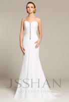 12W006 Strapless Rhinestioned Ruching Mermaid Beach Chiffon Elegant Gorgeous Luxury Unique Wedding Dress Wedding Gown