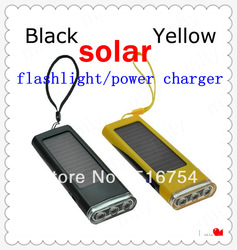 Multifunction Portable Solar Flashlight &Radio Power Charger For Phone MP3/4 Digital Camera Black and Yellow DA0103(China (Mainland))