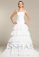12W017 Sreapless 2014 New Handmade Flower Organza Bridal Gown New Arrival Floor Length Wedding Dresses Plus Size