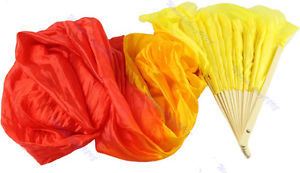 D19+Hand Made Colorful Belly Dance Dancing Silk Bamboo Long Fans Veils 4 Colors Free Shipping