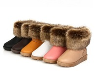 Flat heel cotton-padded shoes waterproof snow boots artificial fox fur boots wool female boots