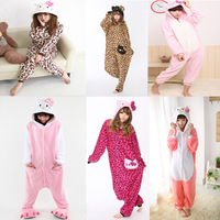 Free Shipping One Piece Coral Fleece 6 Types Leopard and Pink Hello Kitty Animal Footed Christmas Pajamas Onesies Costumes Hot