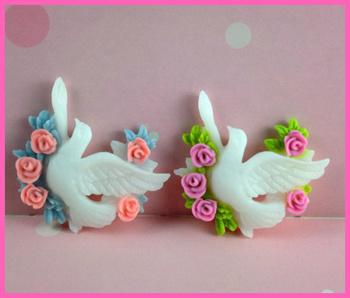 Kawaii Cabochons FlatBack embellishment resin character birds wear rose For Phone DIY decoration,girl hairbows
