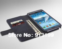 Free shipping 1pcs Genuine Real wallet stand flip leather case for samsung Galaxy Note ii 2 N7100 mobile phone with Card Holder