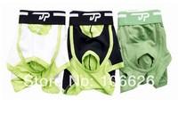 #045 Men's fashion Jackpopoo lycra color block decoration sexy penis separator U bag physiology function boxer shorts trunks