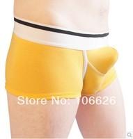 #001 2pcs/lot Jackpopoo sexy lingerie comfortable underwear double U-shape big penis bag 100% cotton boxer shorts trunks