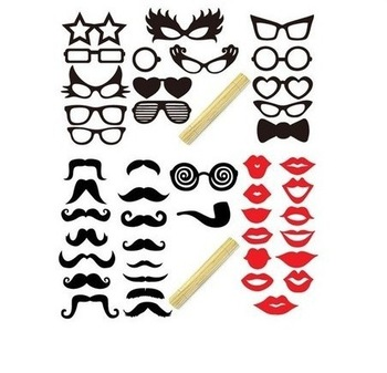 Hot Sale 41pcs Funny Mask Wedding Party Photography Photo Booth Prop MUSTACHE ON A STICK Free Shipping