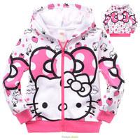 Free shipping 6pcs/lot Cartoon Sweater for Children Hello Kitty Girls Spring Autunm Coat Zipper Hoodies Kids Casual Garment