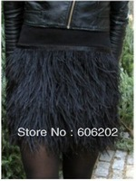35cm long ostrich feather skirt mini length, double layer fabric lined, free shipping # SK004 121201