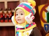 On Sale! Baby Autumn & Winter Hat Kids Warm Ear Muff Cap Baby Crochet Ear Hat Scarf Cute Rabbit Free Shipping