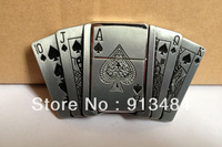 Playing card belt buckle with kerosene lighter with pewter finish JF-B133 brand new condition 5pcs/lot free shipping