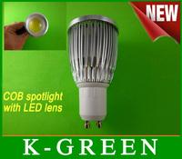 DHL FEDEX UPS TNT EMS free shipping super bright GU10  6w cob led spotlight with LED lens