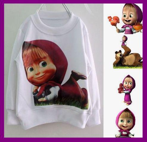 "5pcs/sacco), moda cartoon bambini hoodies""Il Masha e orso""I bambini  Baju Masha Di Masha In The Bear"