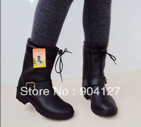 2013 Cheap Winter Rain Boots Liner Plush Leather Hasp Thermal Fashion Martin mMotorcycle Female Rainboots