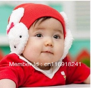 New Baby hat 1 pcs Infant cap Toddler Kids hat Winter Warm Hat Cap With Lovely Rabbits Earmuffs hat 4 Colors Free Shipping(China (Mainland))