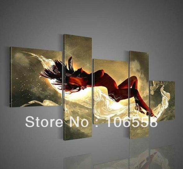 100% hand-painted on canvas oil painting Free Shipping Solid wood frame Abstract Landscape Figure Oil Painting 5-157(China (Mainland))