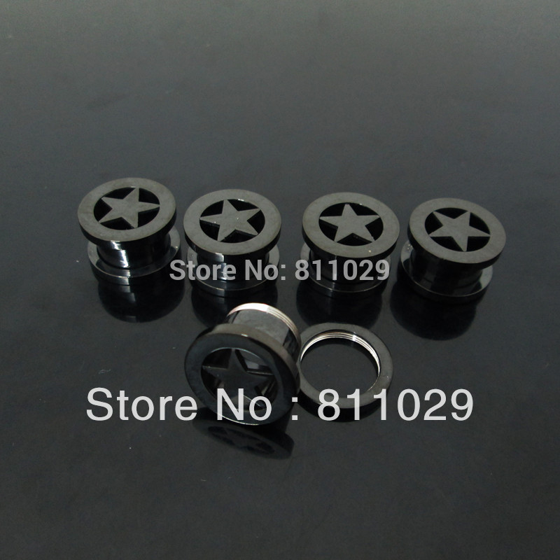 Hot wholesale body jewelry 200pcs mixed plated black ear TUNNELS anodized black surgical Stainless Steel screw on Flesh Tunnel(China (Mainland))