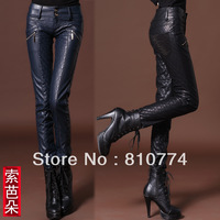 2015 Pencil pants PU slim thickening women's trousers casual cotton-padded leather female pants
