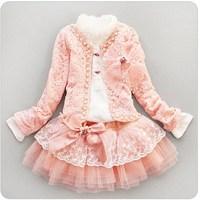 Retail- baby girl sets three-piece dress(top+t shirt+dress) child clothes set,infant tee shirt+coat+dress set LJ024
