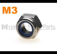 1000pcs/lot DIN985 M3 Stainless steel nylon insert lock nut