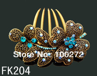 Wholesale new vintage Bronze alloy flower crystal rhinestone fashion hair combs hair accessory,12pcs mix colors  FK204
