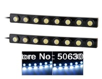 Free shipping + 16.5x1.7 cm 8-LED White Light Bendable Daytime Running Lamp (Black)